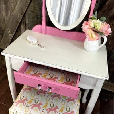 Custom Painted Little Girls Pink Pony Vanity