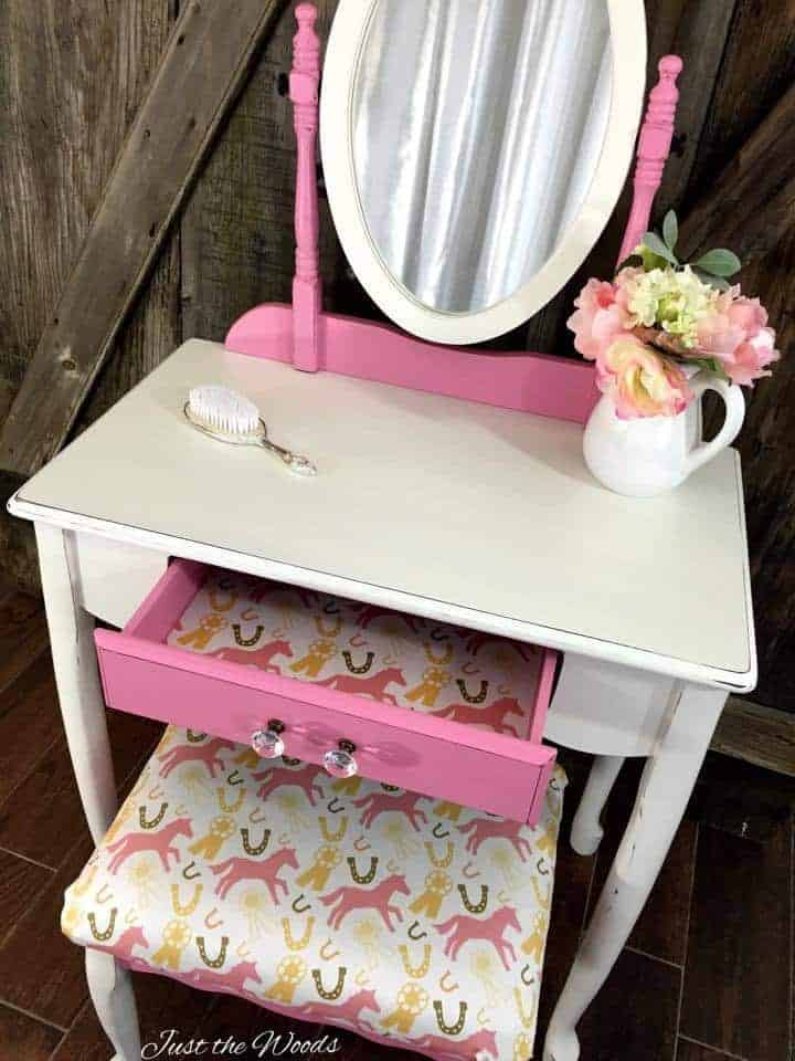 little girls vanity, painted vanity, staten island, minted, pink pony fabric