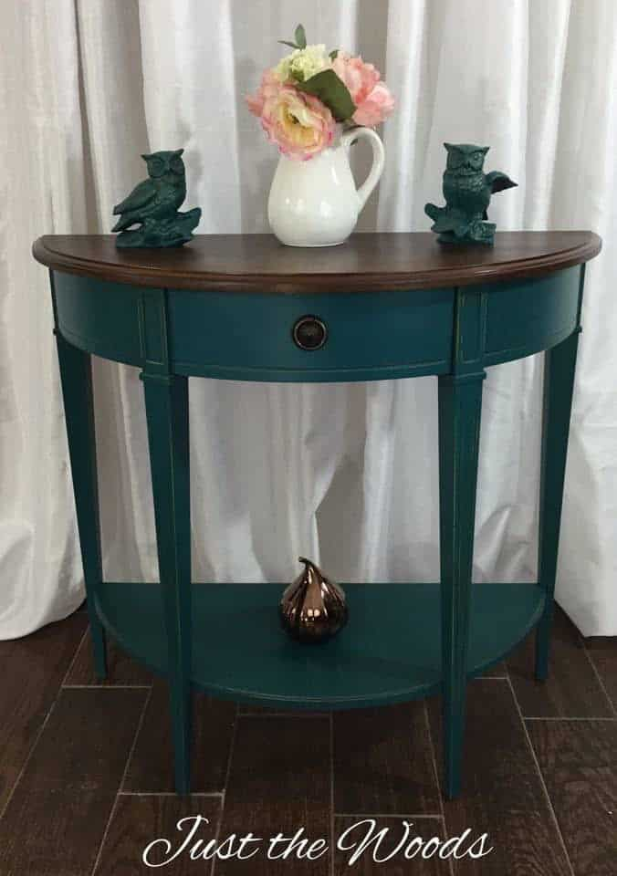 Deep teal console table with stain top / Just the Woods