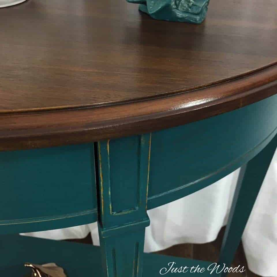 Teal painted console table with stain top