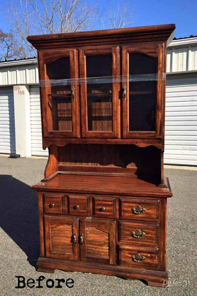 vintage china cabinet, unfinished china cabinet, vintage furniture, staten island