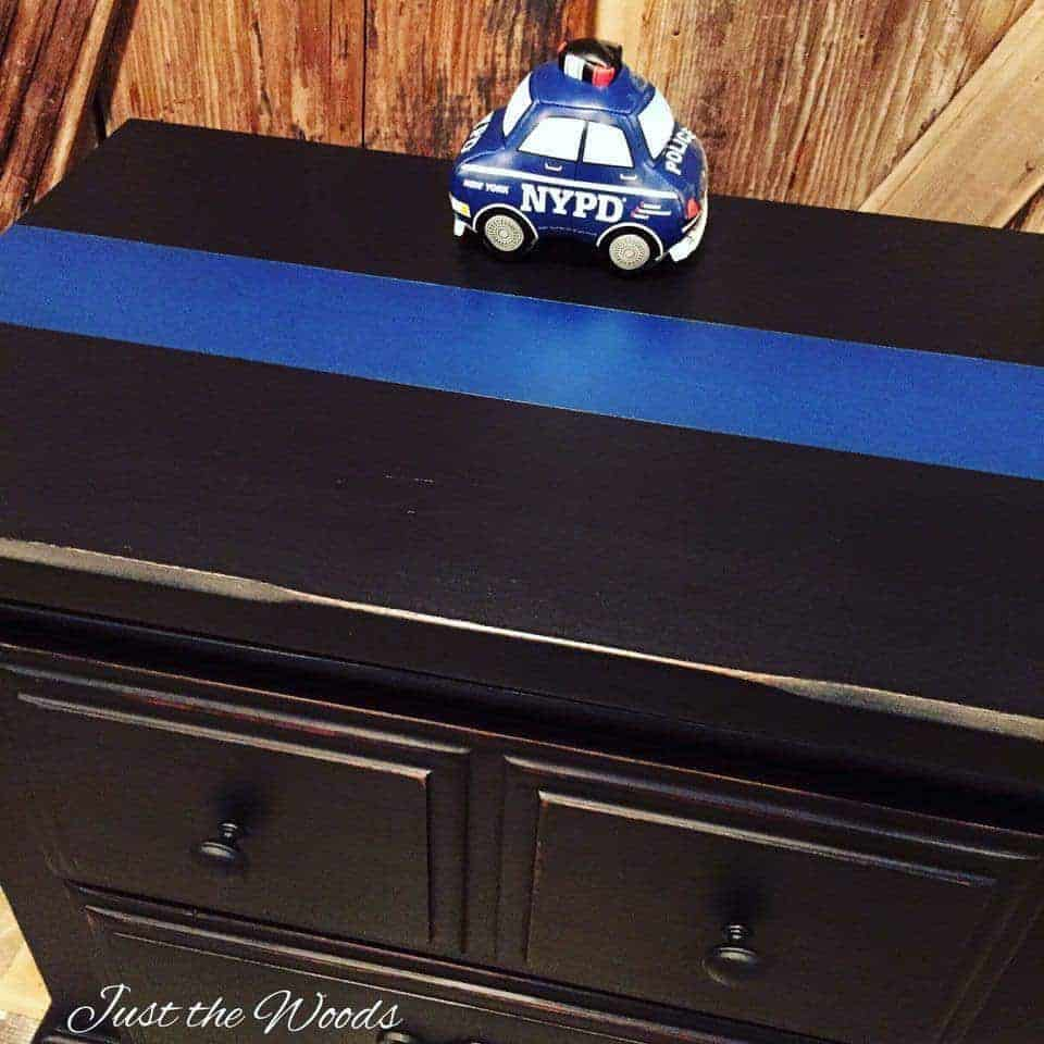 thin blue line, painted furniture, charity, nypd, just the woods, staten island, nyc, police, LEO, vintage
