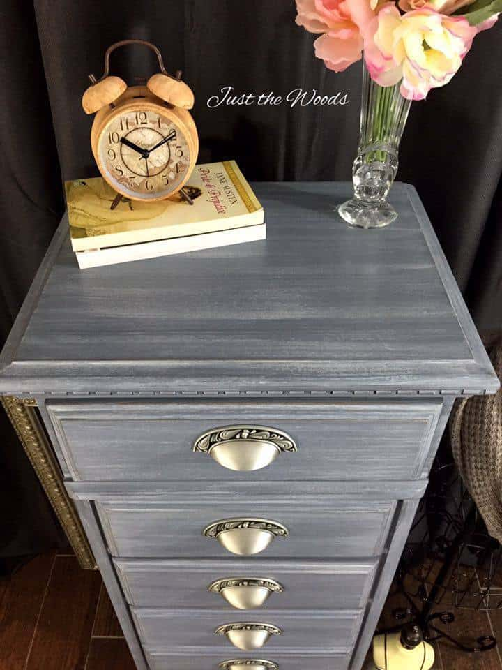 Gray painted chest, lingerie chest, layered paint, chalk paint, gray paint, staten island