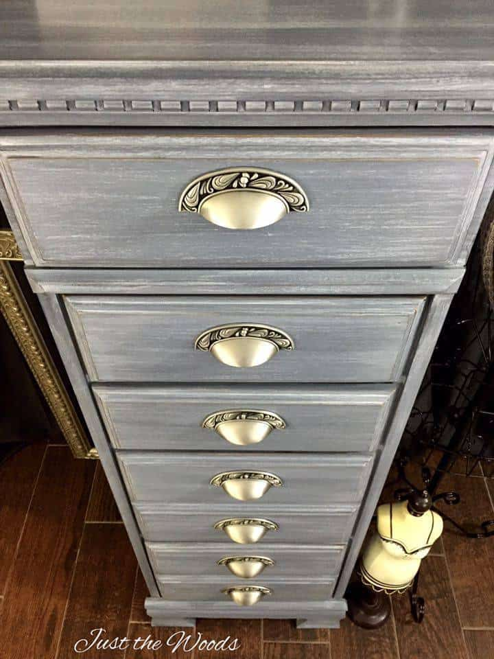 Vintage Lingerie Chest Hand Painted Layered Shades Of Gray