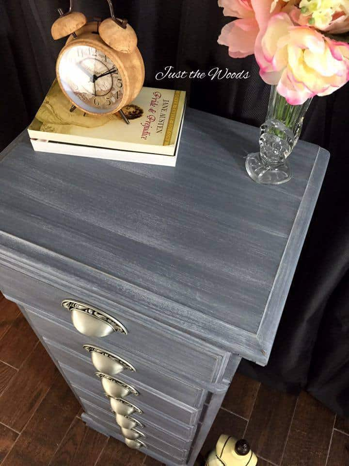 Shades of gray painted vintage lingerie chest by Just the Woods