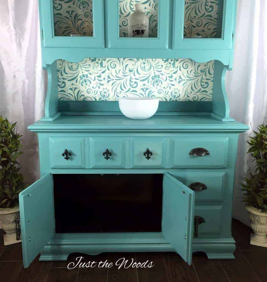 Painted sea foam china cabinet with stencil backing