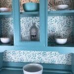 Sea Foam & Stencil China Cabinet