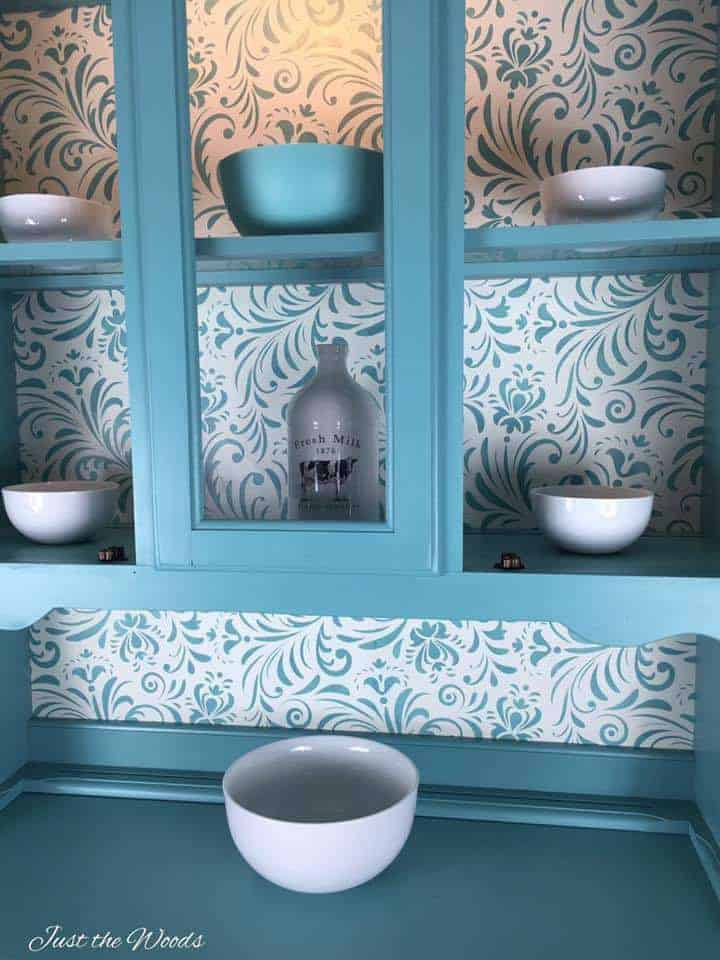 Painted china cabinet with stencil, seafoam chalk paint, stencil on furniture, pure home paint