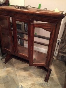 remove back to china cabinet, vintage furniture, painted furniture, painted china cabinet, stencil, nyc