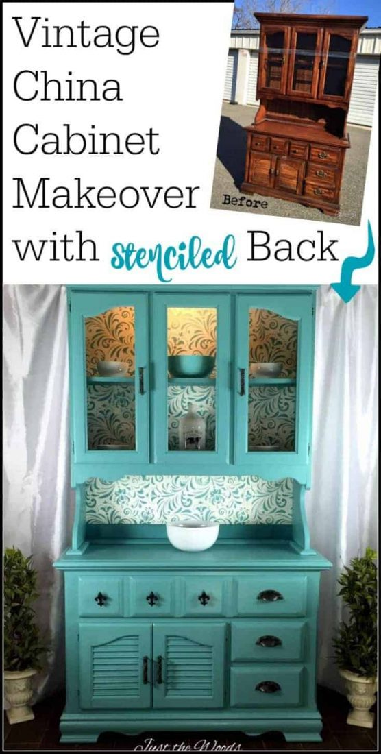 painted china cabinet with stencil, painted furniture, seafoam painted furniture, painted china cabinet ideas, stencil on painted furniture, stenciled painted cabinet