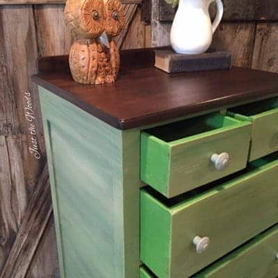 Shades of Green Painted Lingerie Chest