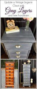 lingerie chest, painted chest, vintage chest, gray paint, chalk paint, painted furniture
