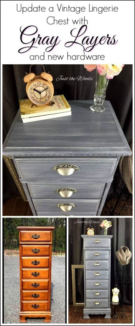 lingerie chest, painted chest, vintage chest, gray paint, chalk paint, painted furniture