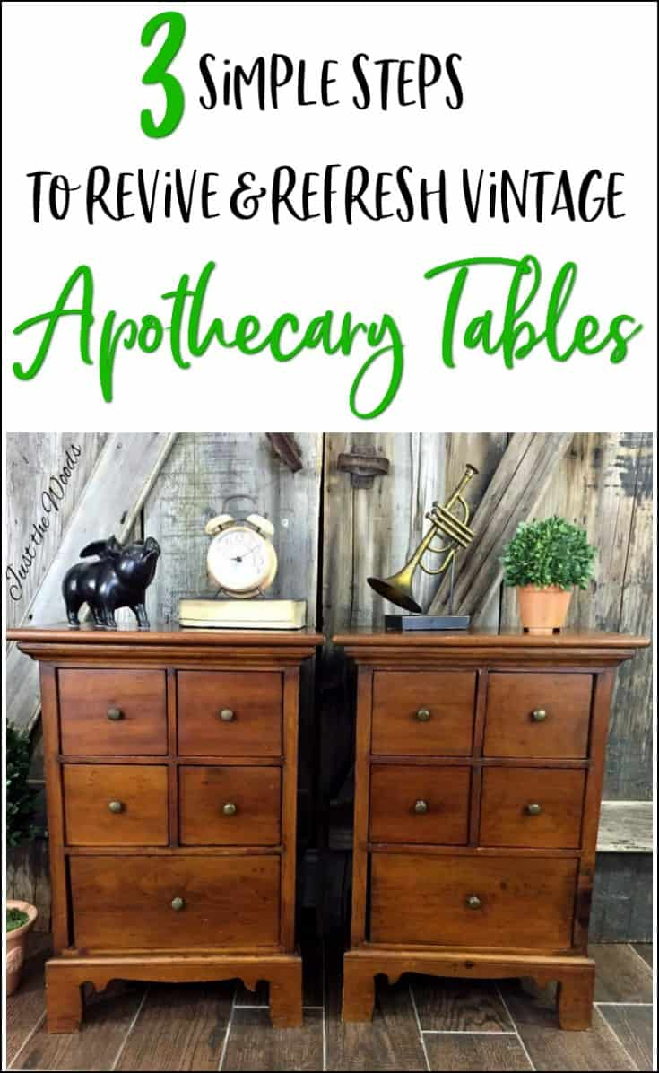 Save a pair of vintage handmade wooden apothecary tables in 3 simple steps. Restore and revive old wood. Not all furniture needs paint. See how to refresh old wooden furniture the easy way.