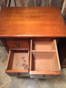 vintage handmade tables, apothecary table, cubby drawers, many drawers side table