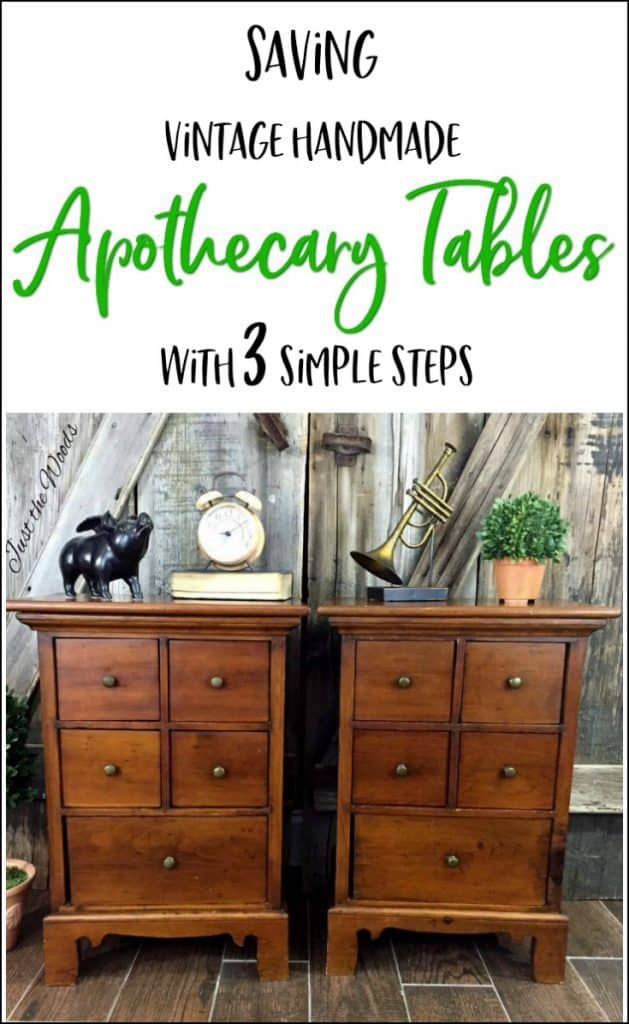 apothecary tables, vintage tables, apothecary cabinets, restore old wood