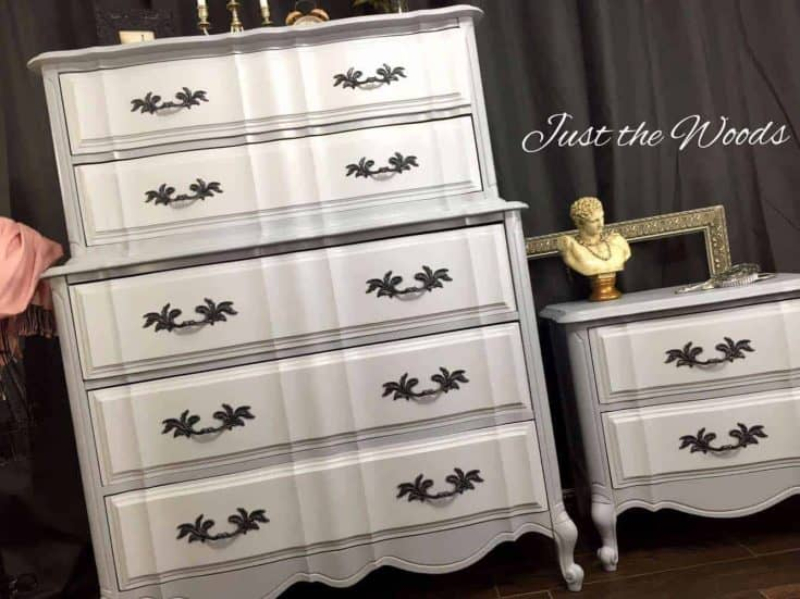 French Provincial Painted Dresser Set in Gray Two Tone