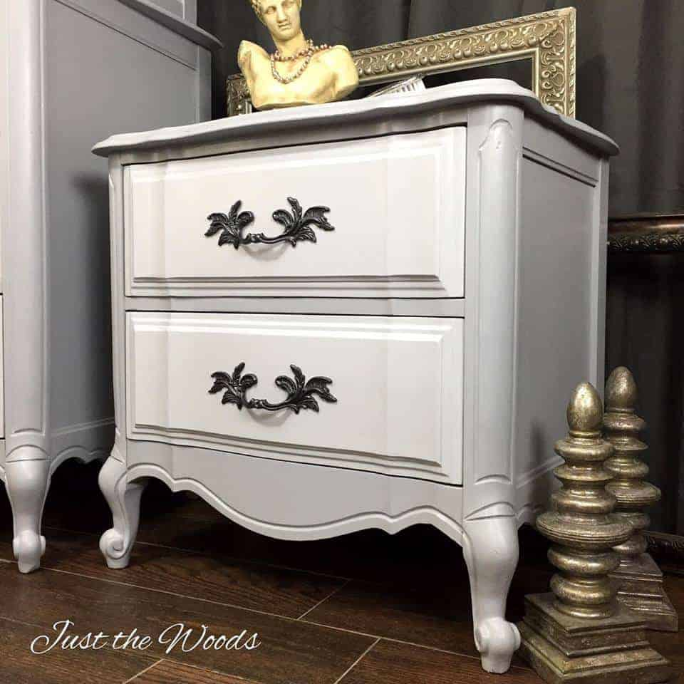 French Provincial Chest, Painted Gray, Two Tone, Painted Dresser, Painted  French Provincial