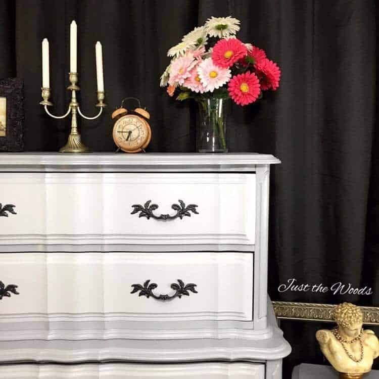 two toned painted furniture, french provincial painted dresser