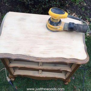 electric sander, dewalt, orbital, sand vintage furniture