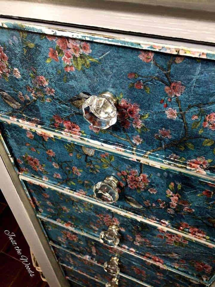 decoupaged lingerie chest, painted furniture, just the woods, staten island, nyc, vintage, lingerie chest, birds and blooms, d lawless hardware