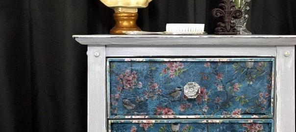 painted lingerie chest, decoupage, crystal knobs, weathered gray, chalk paint, distressed