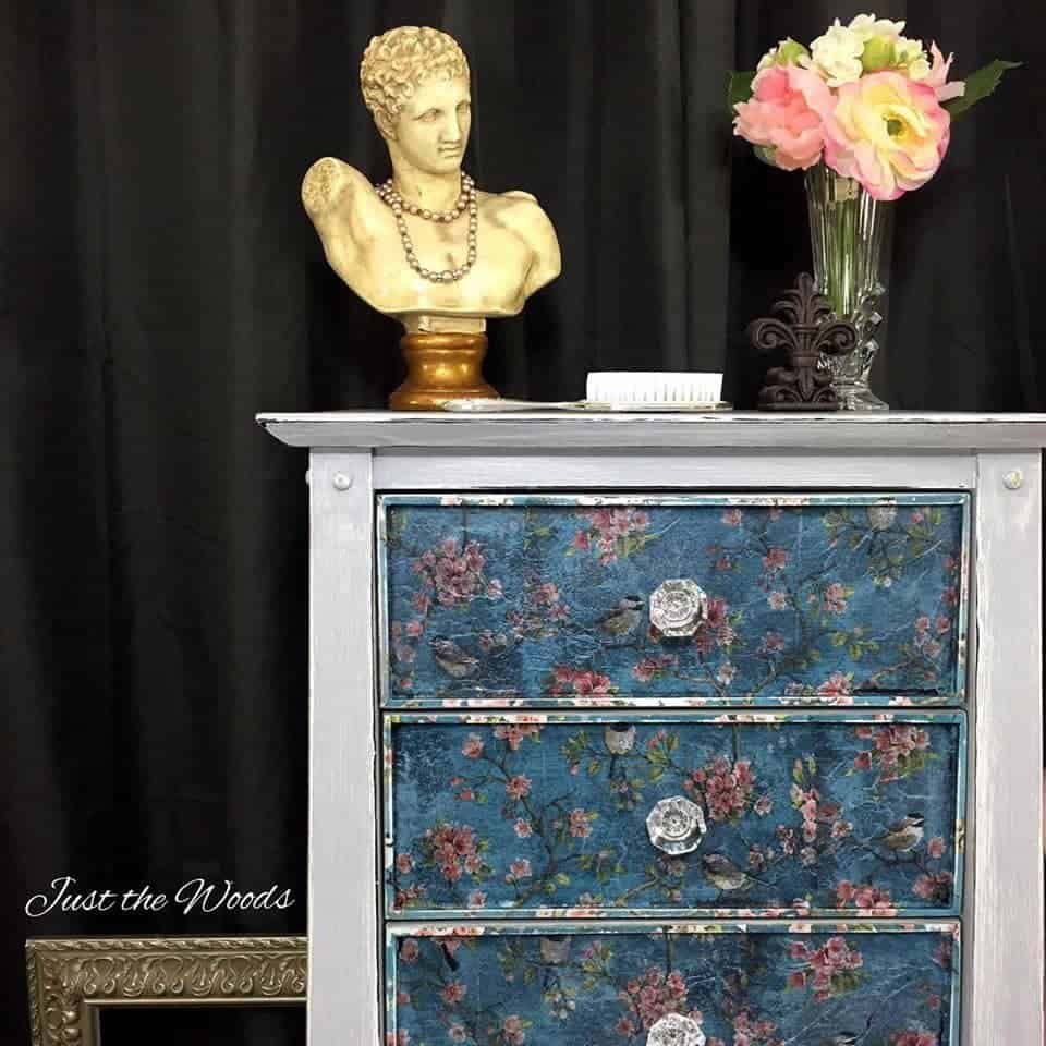 weathered, decoupaged lingerie chest, painted furniture, just the woods,new york, staten island, nyc, vintage, lingerie chest, birds and blooms