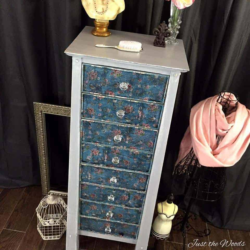 decoupage, lingerie chest, painted furniture, just the woods, staten island, nyc, vintage, lingerie chest, birds and blooms