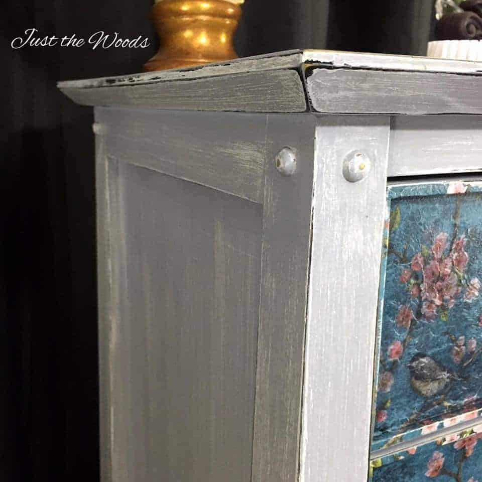weathered lingerie chest, painted furniture, just the woods, staten island, nyc, vintage, lingerie chest, birds and blooms