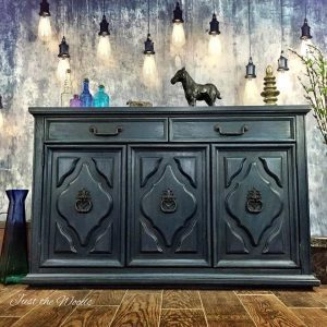 Vintage Painted Midnight Blue Buffet Server by Just the Woods