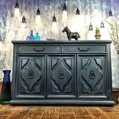 Vintage Painted Blue Buffet