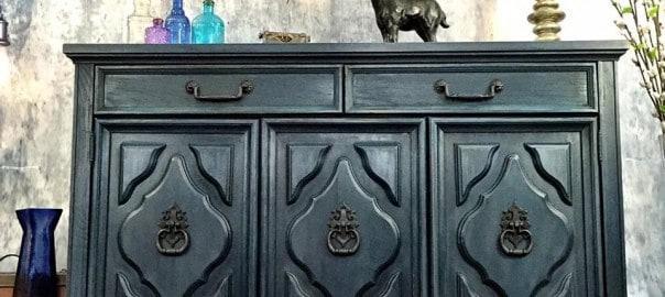 painted buffet, blue buffet, vintage furniture