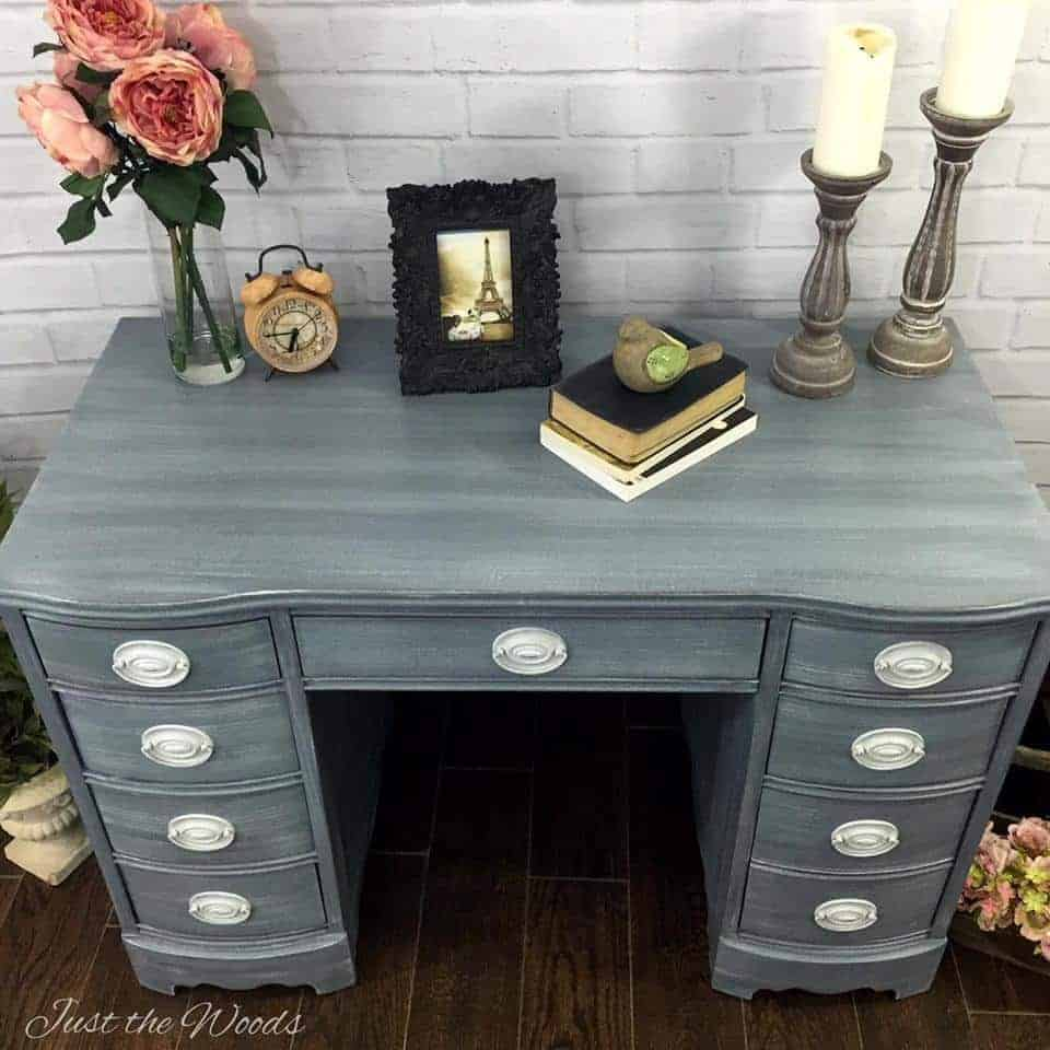 shabby chic desk hand painted in layers of grays. Black Bedroom Furniture Sets. Home Design Ideas