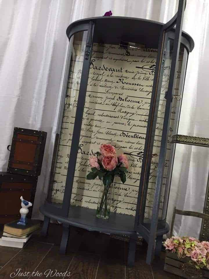 Curio Cabinet Makeover With French Script Decoupage By