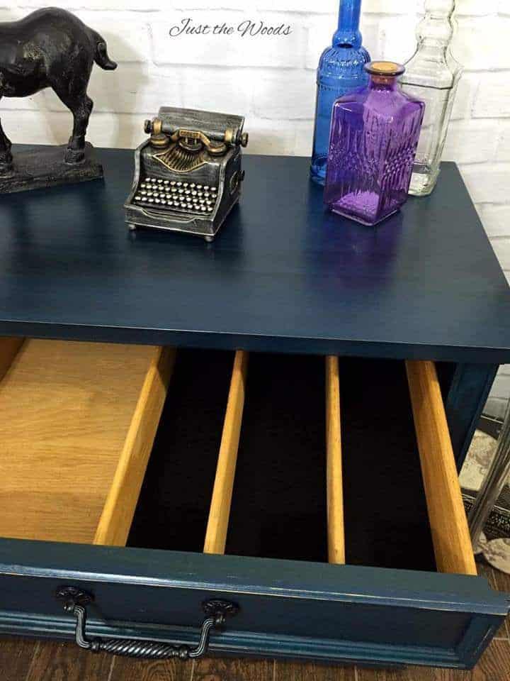 cutlery drawer, black felt liner, new liner, vintage buffet