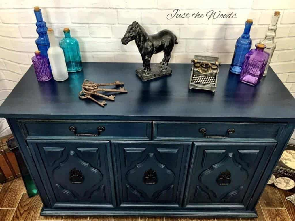 Vintage Painted Blue Buffet Server, Just the Woods, chalk paint, new york, staten island