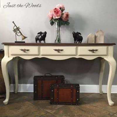 Toasted Almond Sofa Table with Stain Top & Surprise Stencil Drawers