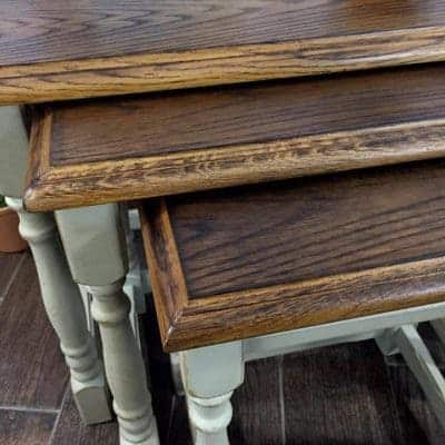 Wood Burning Toasted Oak Stacking Tables