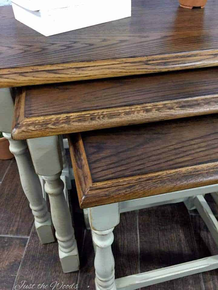 nesting tables, wood stacking tables, oak stacking tables, small nesting tables