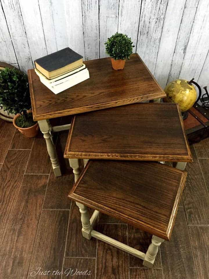 how to wood burn furniture, stacking tables, nesting tables, wood stackable tables