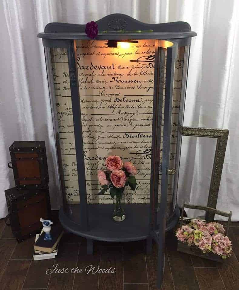 curio cabinet, vintage curio, decoupage, french script, painted furniture, new york