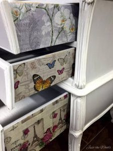 decoupage, french provincial, bombe, bombay, painted furniture, staten island