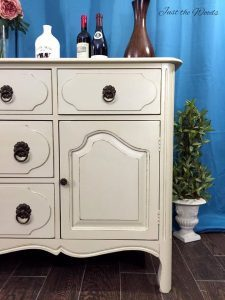 Painted vintage china cabinet, bisque, pure home paint