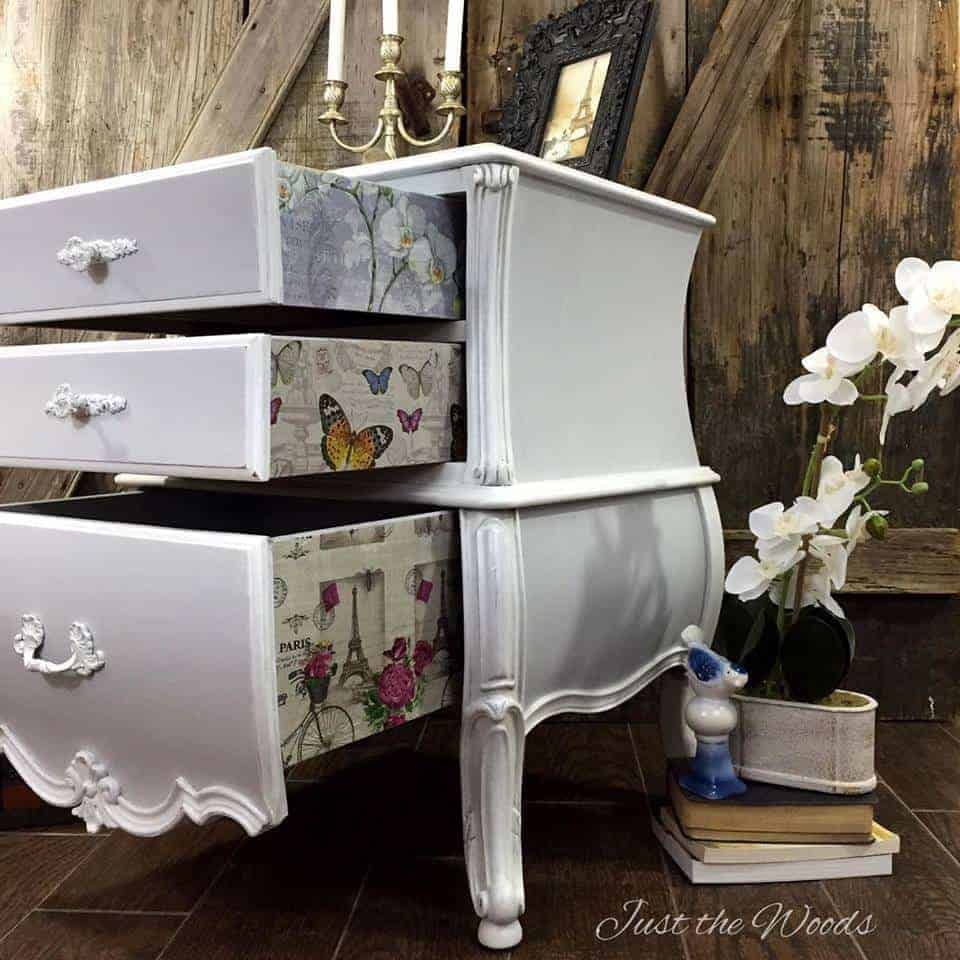 Decoupaged chest of Drawers, staten island, painted bombe chest, just the woods, vintage furniture, shabby chic