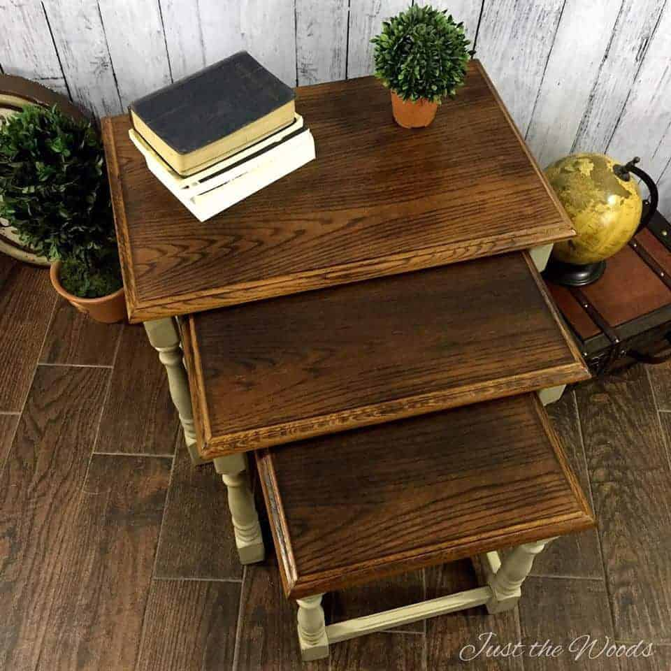 wood burned, wood burning, nesting tables, stacked tables, painted tables, wood grain