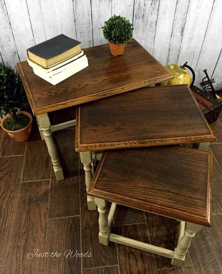 Nesting Tables, Painted Furniture, Small Stackable Tables, Stacking End  Tables, Burned Tables