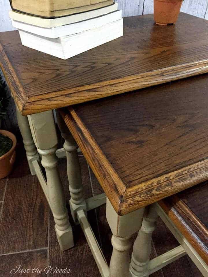 Wink Fireside Tables Wood Grain Nesting Burned Painted
