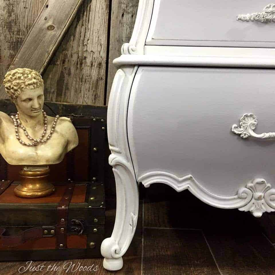 vintage chest, bombe, decoupage, shabby chic, curvy furniture