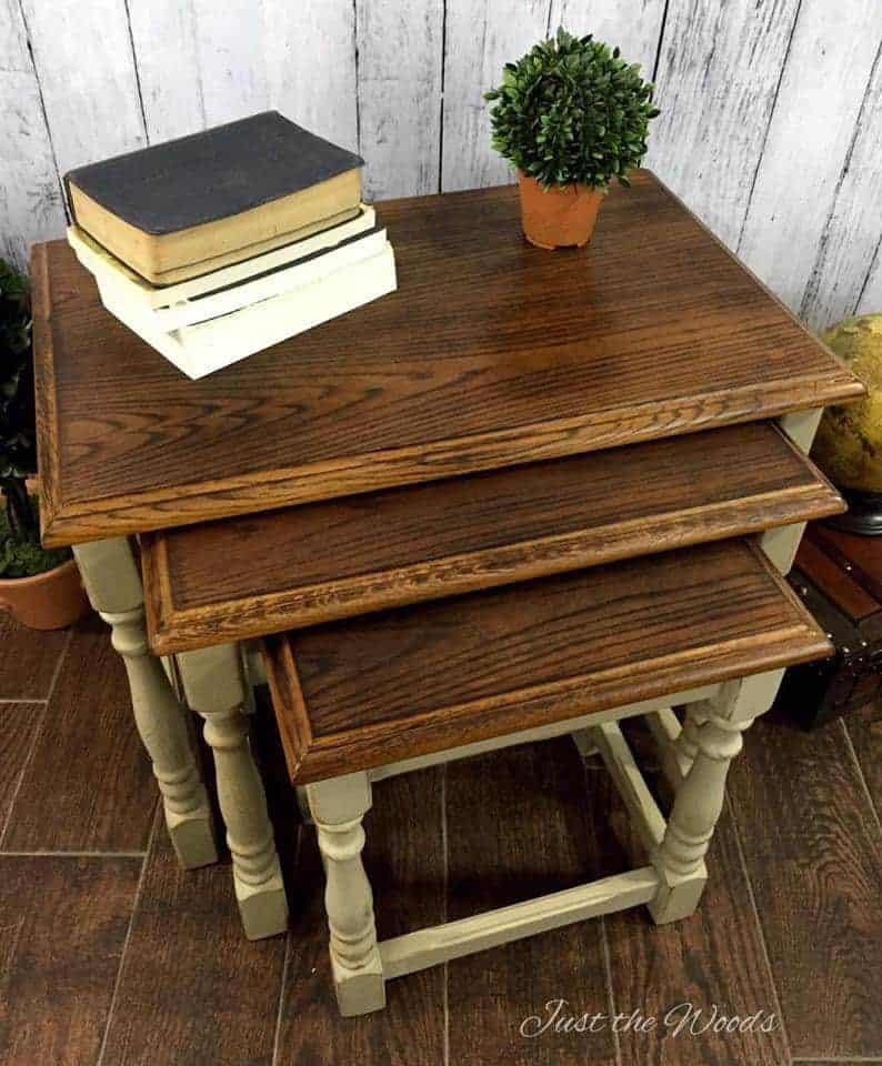 Wood Grain Tables, wood burned, wood burning,stacking tables