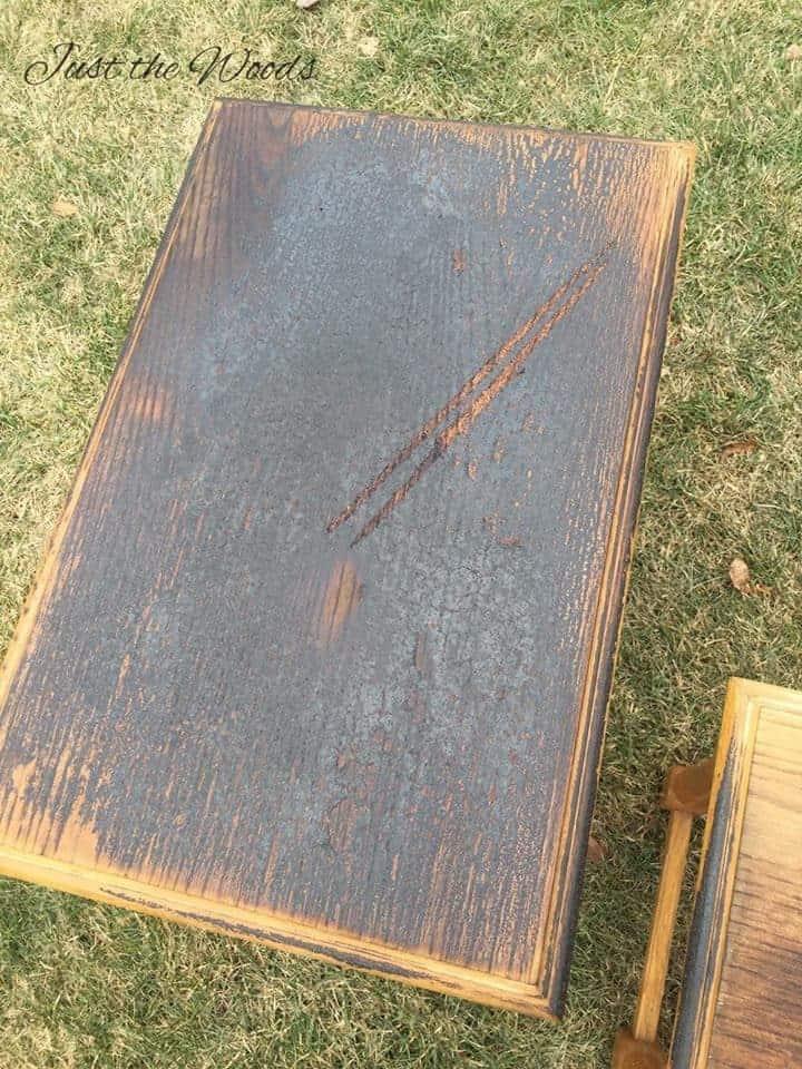wood burning, wood burned tables, charred wood, nesting tables